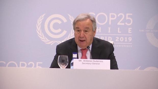 Guterres: Det saknas politisk vilja att stoppa uppvärmningen