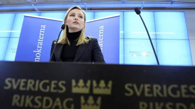 Ebba Busch Thor under pressträffen. Foto: Janerik Henriksson/Tt