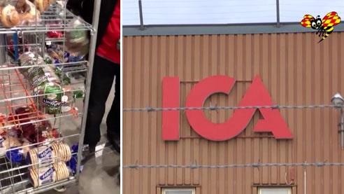 Långa rader med ätbar mat hos Ica – allting slängs