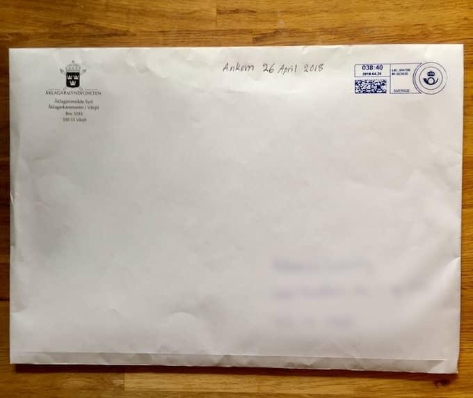 Brevet från åklagarmyndigheten innehöll både de handlingar kvinnan begärt men även delar ur en förundersökning gällande ett annat fall som hon inte hade någon koppling till. Foto: Privat