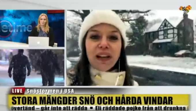 """Monica Enqvist, som bor och arbetar i Washington, säger: """"Man ska ta myndigheternas varningar på allvar."""" Foto: Skärmavbild/Expressen TV"""