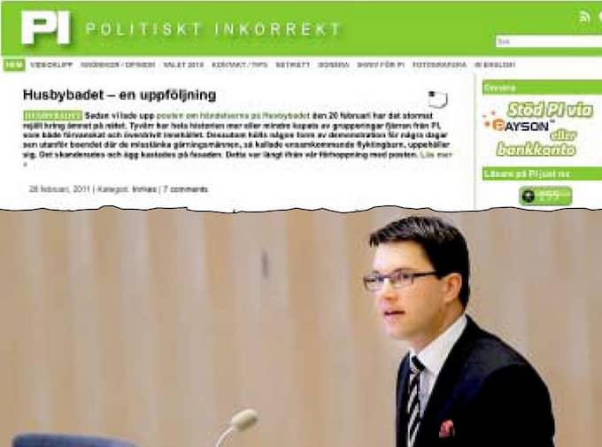 FØRNEKAR FØRBINDELSEN. Sverigedemokraternas partiledare Jimmie Åkesson förnekar genom sin pressekreterare att SD ger pengar till sajten Politiskt Inkorrekt - men Expressens granskning visar att det finns kopplingar.