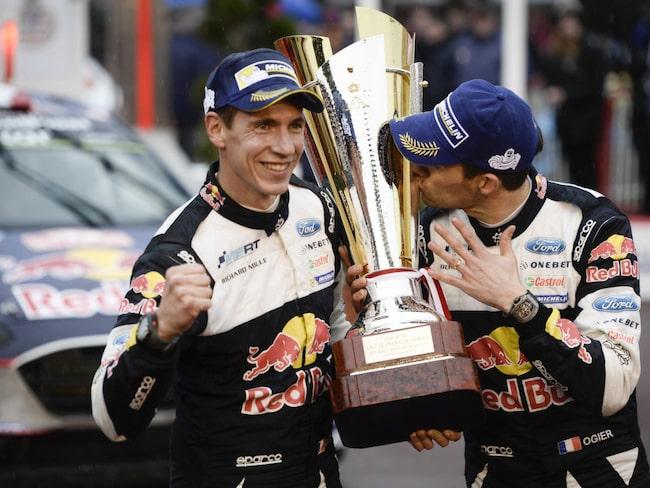 Ogier gör en segergest efter Monte Carlo-rallyt som avgjordes tidigare i år.
