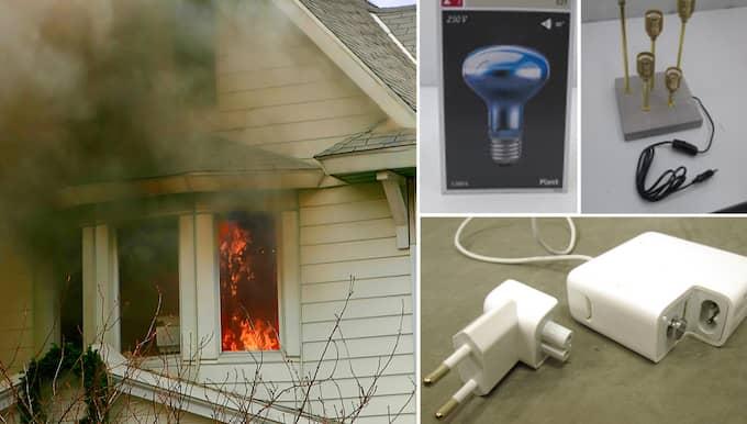 Det är elprylarna som kan ge brännskador, elchocker och starta bränder. De är stoppade av Elsäkerhetsverket men finns kvar i svenska hem. Kolla listan över vilka produkter du bör sortera bort.