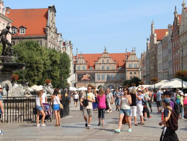 <span>Under Dominikusmarknaden spelar gatumusik här och var i Gdansk.</span>