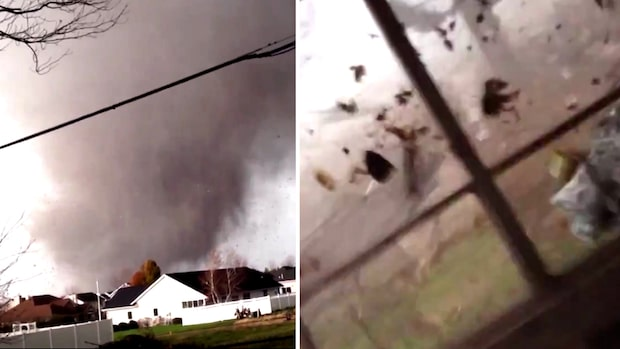 """Här vräker sig tornadon in över huset: """"Åh gud – gå in i huset"""""""