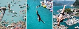 Se de extrema bilderna – dykare faller 27 meter