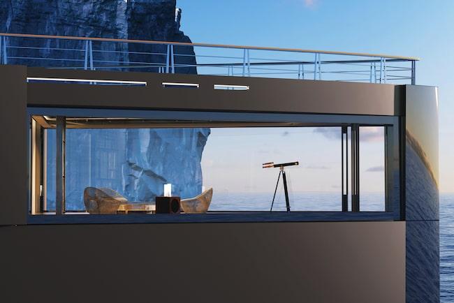 Här står ett observatorium – med fönster från golv till tak – i fokus.