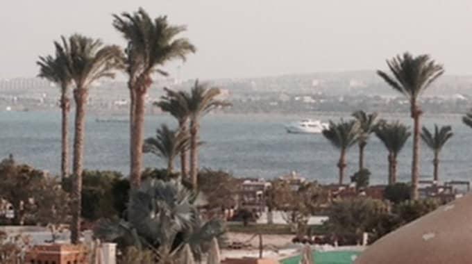 Personen avled på stranden utanför ett hotell på turistorten Hurghada i Egypten. Foto: Privat