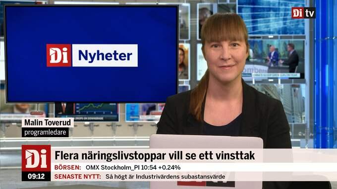 """""""Di Nyheter"""" sänds i Di TV varje heltimme mellan klockan 06 och 17 på vardagar. Här Malin Toverud som är en av programledarna."""