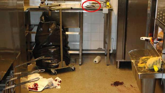 I köket inne på Maxrestaurangen. Foto: Polisen