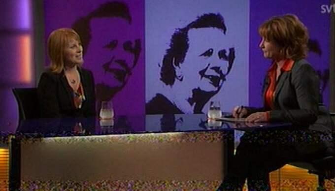 Annie Lööf blev intervjuad av Anna Hedenmo i SVT:s Agenda. Foto: SVT