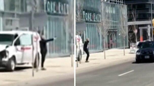 Se filmen när polisen griper föraren