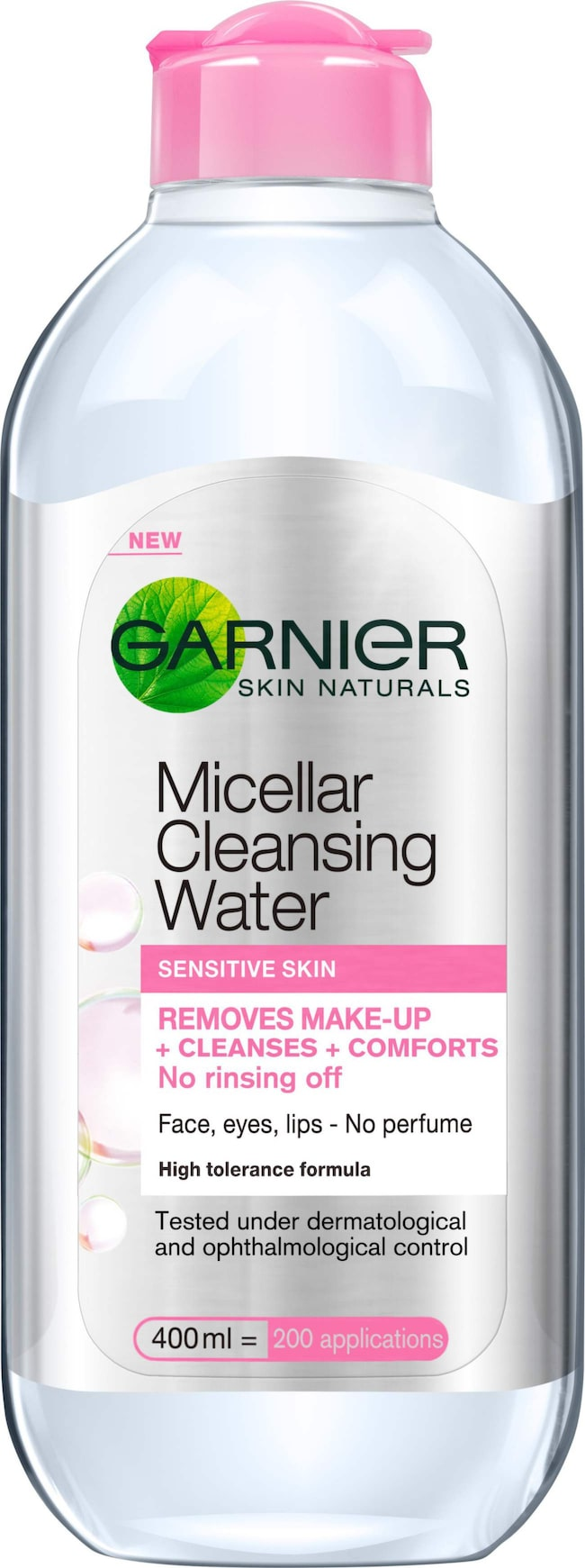 <span>Micellar cleansing water, 69 kronor/400 ml, Garnier</span><span>Förpackningen är inte den snyggaste, men innehållet är desto bättre. Vardagsmakeup tas bort i ett nafs medan vattenfast makeup kräver tre till fyra bomullsrondeller. Den svider inte, är parfymfri, allergitestad, dryg och gör huden len och mjuk. Lyko.se</span>