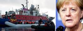 350 migranter strandade mitt ute på Medelhavet