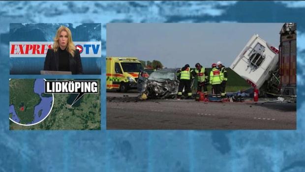 Tre omkomna i svår trafikolycka mellan en personbil och en husbil