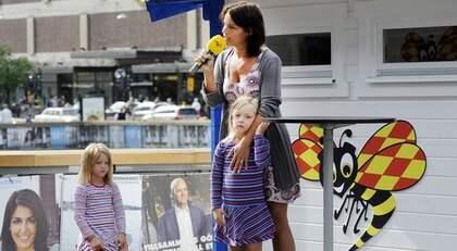 Socialdemokraternas Veronica Palm vid Expressens valstuga. Foto: Jan Düsing