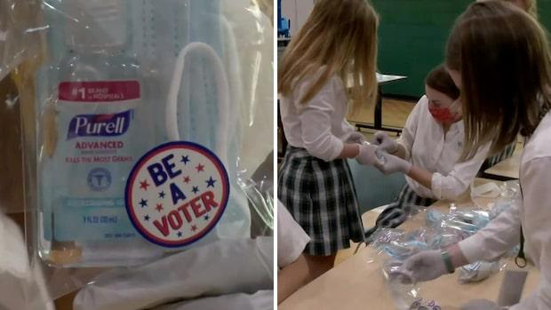 Här gör studenterna coronakit för de som ska rösta