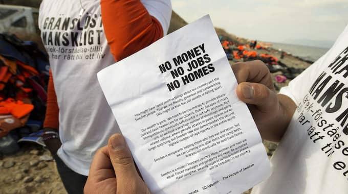Det var i helgen som frivilligarbetare upptäckte flygblad på den grekiska ön Lesbos som sades komma från SD. Foto: Jens Alvin / Södermanlands Nyheter