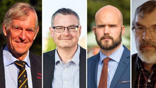 Före detta generalmajor Svante Bergh, oppositionsråd Jonas Ransgård (M), riksdagskdandidat David Josefsson (M) och kommunfullmäktigekandidat Anders Hyllander (M). Foto: ARKIV