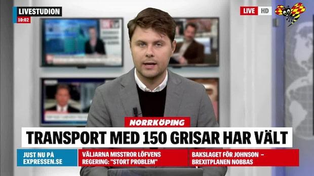 Gristransport har vält utanför Norrköping