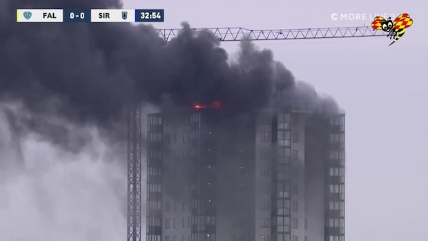 Höghus i brand – mitt under allsvenskamötet