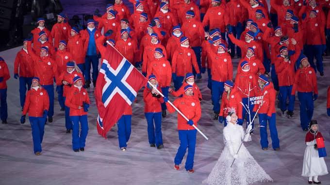 Norska truppen under OS-invigningen. Foto: SVEN LINDWALL
