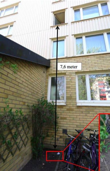 14-åringen hoppade ut från tredje våningen, ett fall på nästan åtta meter. Foto: Polisen