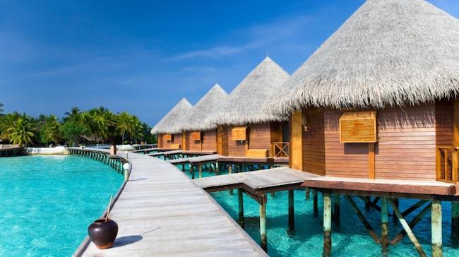 En vattenvilla på stolpar i vattnet lockar många nygifta som åker till Maldiverna på bröllopsresa.