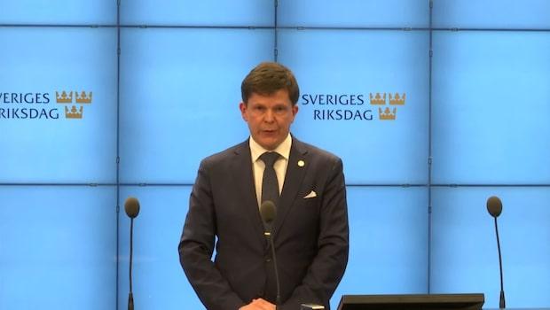 Talmannen ger Ulf Kristersson uppdraget att sondera regeringsalternativ