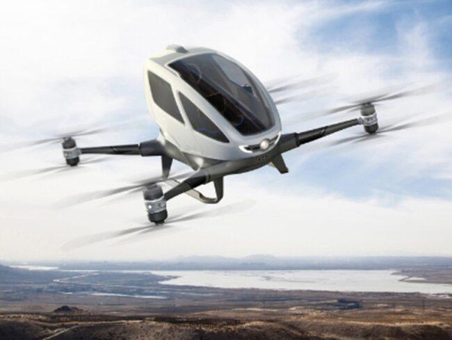 Företaget Ehang är ett annat företag som siktar på att erövra skyn. De ska testa sin drönare som kan ta passagerare i USA.