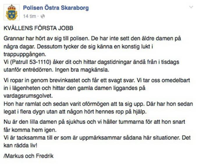 Meddelandet på polisens Facebooksida. Foto: Skärmdump