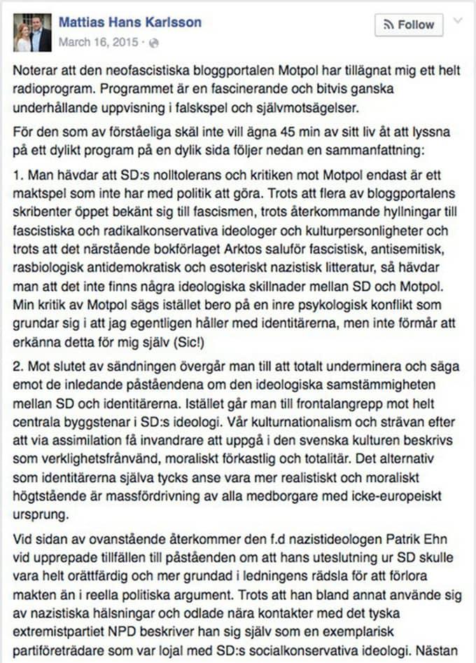 """Här kallar Mattias Karlsson Sajten Motpol """"neofascistisk"""""""