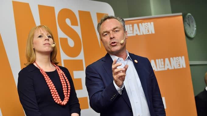 C- och L-ledarna Annie Löö och Jan Björklund efter valet 2014. Foto: CHRISTIAN ÖRNBERG