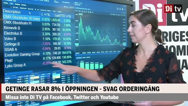 Marknadskoll: Kinnevik bäst upp 3 procent, Getinge fortsätter tappa