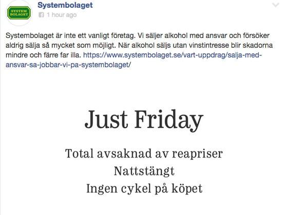Systembolaget skojar om Black Friday-fenomenet på Facebook.