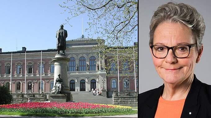 Statssekreterare Karin Röding här intill Uppsala universitet där hon var direktör 2006-2007.