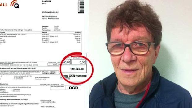 Stig, 76, fick faktura på 140 000 av telebolaget