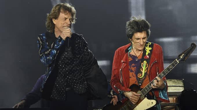 Mick Jagger och Ron Wood (Till höger) Foto: HENNING KAISER / AP TT NYHETSBYRÅN