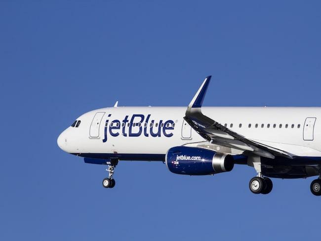 Ett JetBlue-flyg tvingades nödlanda på söndagseftermiddagen.