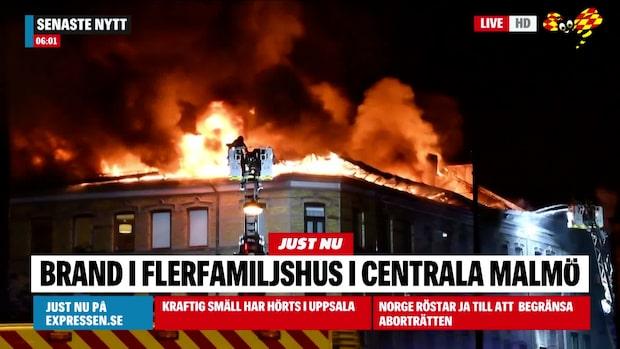Kraftig brand i Malmö – boende evakueras
