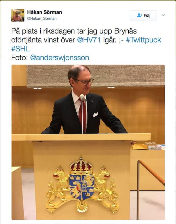Bilden som Sörman lade upp på Twitter.