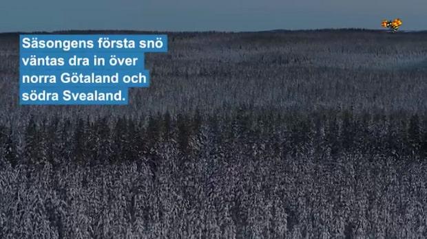 Hårda vindar och snö över Sverige