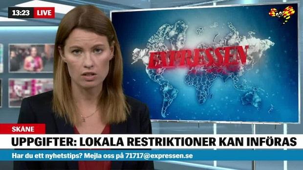 Lokala restriktioner kan införas i region Skåne