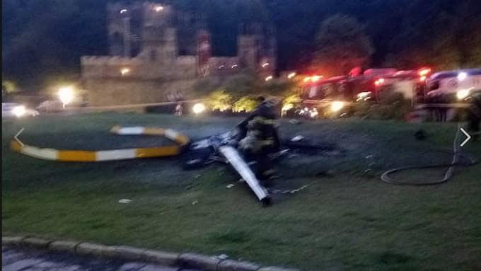 Kvar av helikoptern fanns bara et urbränt vrak. Foto: Luciana Paciello/Facebook