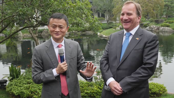 Alibabas grundare Jack Ma träffade statsminister Stefan Löfven under ett Kinabesök i juni förra året. Foto: THOMAS ENGSTRÖM