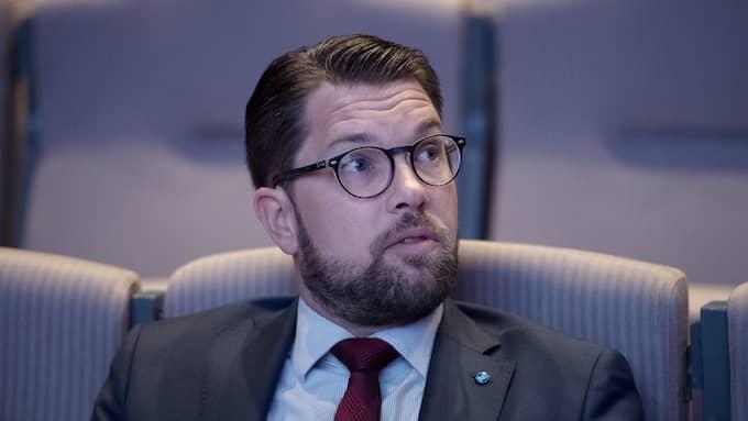 """""""Det är ett fullständigt oacceptabelt uttalande han gör"""", säger SD-ledaren Jimmie Åkesson till SVT. Foto: SVEN LINDWALL"""