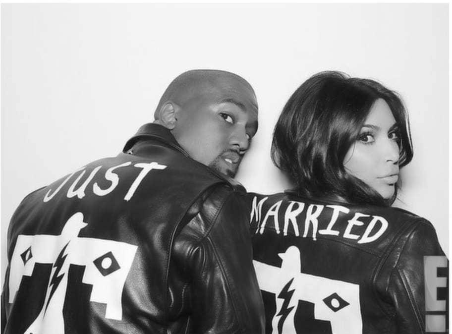 Kanye och Kim poserar i BLK DNM-skinnjackor designade av Wes Lang. Läs mer på EOnline. Foto: Eonline