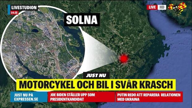 Olycka på E4 i Solna - person är allvarligt skadad