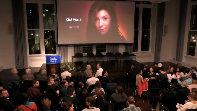 Från minnesstunden för Kim Wall på Columbia University. Foto: COLUMBIA UNIVERSITY